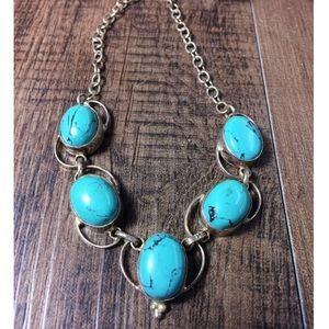 Turquoise howlite & sterling silver necklace